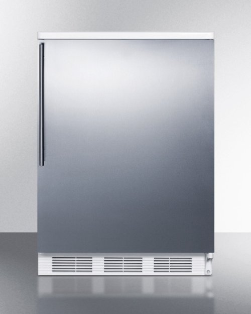 Commercially Listed Freestanding All-refrigerator for General Purpose Use, Auto Defrost W/stainless Steel Wrapped Door, Thin Handle, and White Cabinet