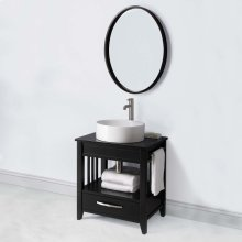 Ambrosia 24-inch Bathroom Vanity & Black Granite Countertop - Black