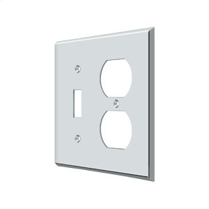 Switch Plate, Single Switch/Double Outlet - Polished Chrome