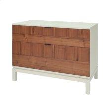 Branton KD Small Cabinet 2 Drawers White Legs, Light Walnut