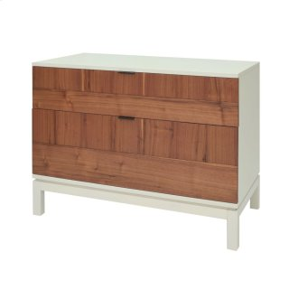 Branton KD Small Cabinet 2 Drawers White Legs, Light Walnut