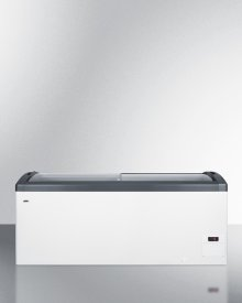 Curved Top Commercial Ice Cream Freezer Made In Denmark, With Sliding Glass Lid, Digital Thermostat, Novelty Baskets, and 17.1 CU.FT. Interior