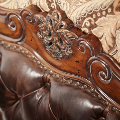 Queen Wing Mansion Bed W/leather Tufted Inserts