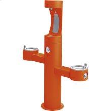 Elkay Outdoor ezH2O Bottle Filling Station Tri-Level Pedestal, Non-Filtered Non-Refrigerated FR Orange