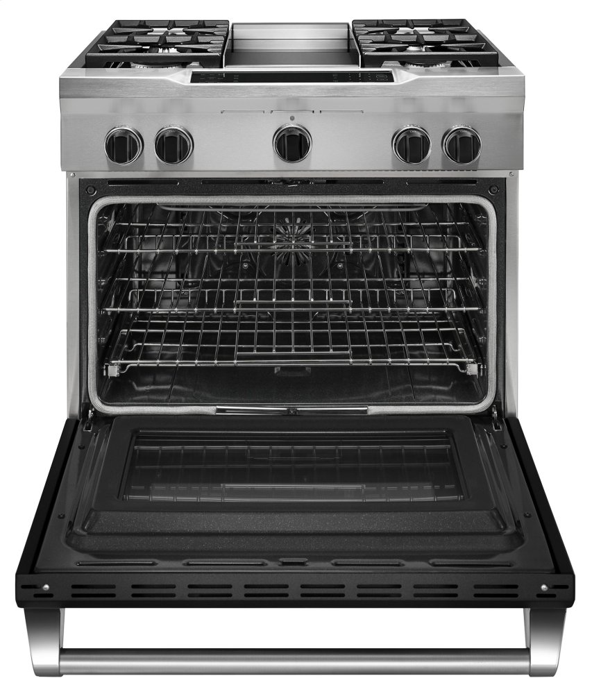 36u0027u0027 4 Burner With Griddle, Dual Fuel Freestanding Range, Commercial