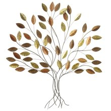 Metallic Leaves Layered Tree Wall Decor