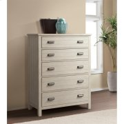 Aberdeen - Five Drawer Chest - Weathered Worn White Finish Product Image