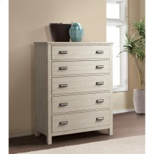 Aberdeen - Five Drawer Chest - Weathered Worn White Finish