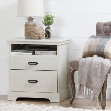 2-Drawer Nightstand - End Table with Storage - Winter Oak