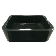 "Acantha Single Bowl Granite Farmer Sink - 36"" - Polished Black"