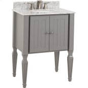 "28"" vanity with Grey finish, elegant tapered legs, clean lines, and preassembled top and bowl."