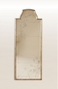 Overscaled Mirror with Gilded Antique Silver Finish, Eglomise Antique Mirror