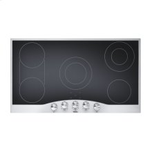"DISPLAY - Stainless Steel/Black Glass 36"" Electric Radiant Cooktop - DECU (36"" wide, five elements)"