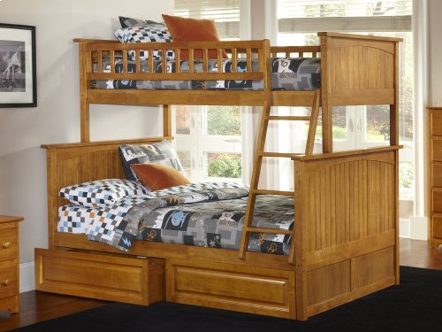 Nantucket Bunk Bed Twin over Full with Raised Panel Bed Drawers in Caramel Latte