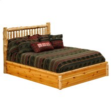 Small Spindle Platform Bed - King - Natural Cedar