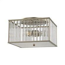 Ridley 3 Light Semi Flush in Aged Silver with Oval Glass Rods