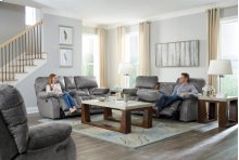 Power Headrest Power Lay Flat Recl Sofa w/DDT & Ext Ottoman