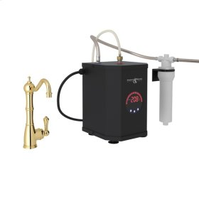 Unlacquered Brass Perrin & Rowe Edwardian Column Spout Hot Water Faucet, Tank And Filter Kit with Traditional Metal Lever