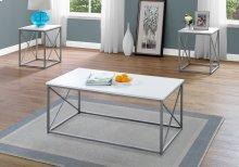 TABLE SET - 3PCS SET / WHITE / SILVER METAL