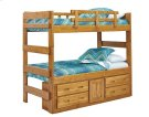 Heartland Extra Tall Bunk Bed with options: Honey Pine, Twin over Twin, 4 Drawer-1 Door Storage Product Image