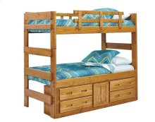 Heartland Extra Tall Bunk Bed with options: Honey Pine, Twin over Twin, 4 Drawer-1 Door Storage