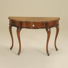VINTAGE CHESTNUT FINISHED SERP ENTINE CONSOLE TABLEWITH MOTHE R OF PEARL DRAWER PULL