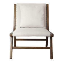 Wood Frame Lounge Chair - Linen