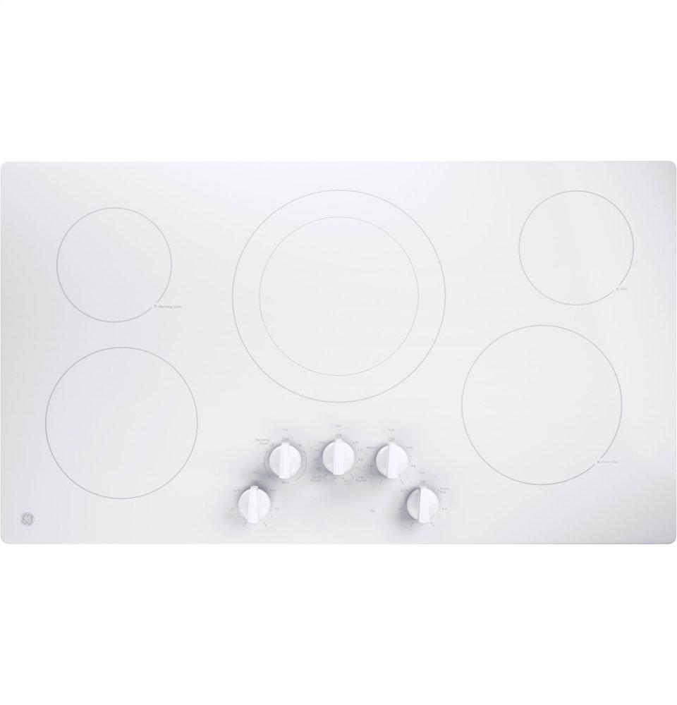 """GE(R) 36"""" Built-In Knob Control Electric Cooktop  WHITE"""