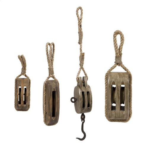 Nautical Wooden Pulleys - Set of 4