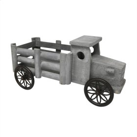 Wooden Decorative Pick Up Truck, Gray