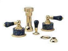 Four Hole Bidet Set Bleu Sodalite - Polished Brass
