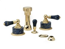 Four Hole Bidet Set Bleu Sodalite - Polished Brass