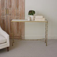 Spike Console-Antique Brass w/White Marble