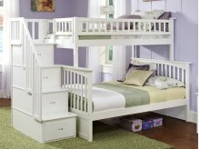 Columbia Staircase Bunk Bed Twin over Full in White