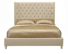 King-Sized Salon Upholstered Panel Bed in Salon Alabaster (341)
