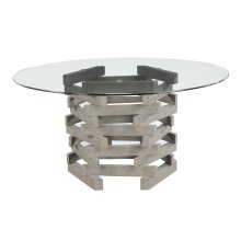 """Emerald Home Jenga Complete Dining Table-round 60"""" Glass Top-wood Base-driftwood Finish"""