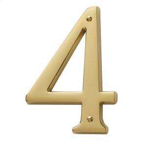 Lifetime Polished Brass House Number - 4