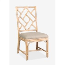 (LS) Hampton Chippendale Rattan Side Chair White Wash - Cream Taupe Cushion - MOQ 2 - (19X22X39)