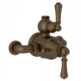 English Bronze Perrin & Rowe Georgian Era Exposed Therm Valve With Volume And Temperature Control with Georgian Era Solid Metal Lever