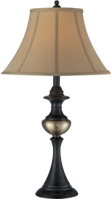 Table Lamp - Rusted Bronze/ab/tan Fabric Shade,e27 Cfl 23w