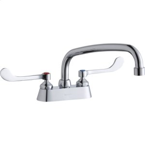 "Elkay 4"" Centerset with Exposed Deck Faucet with 10"" Arc Tube Spout 6"" Wristblade Handles Product Image"