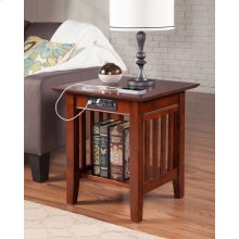 Mission End Table with Charger Walnut
