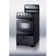 "20"" wide deluxe electric range in black with smooth ceramic glass cooking surface, oven window with light, and high backguard with clock and timer"