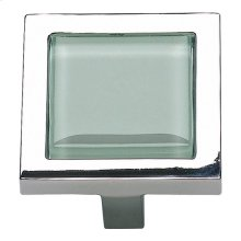Spa Green Square Knob 1 3/8 Inch - Polished Chrome