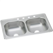 "Dayton Stainless Steel 33"" x 19"" x 8"", Equal Double Bowl Drop-in Sink"