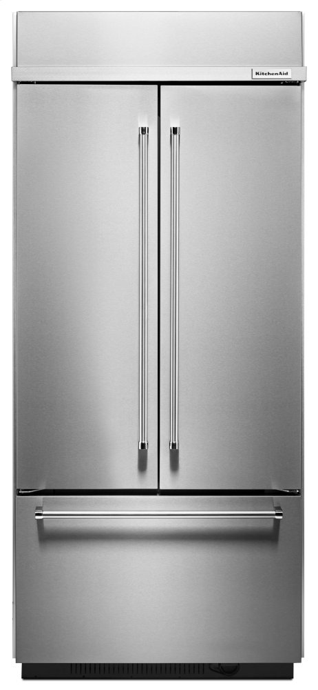 "Kitchenaid20.8 Cu. Ft. 36"" Width Built In Stainless Steel French Door Refrigerator With Platinum Interior Design"