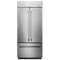 "20.8 Cu. Ft. 36"" Width Built-In Panel Ready French Door Refrigerator with Platinum Interior Design - Stainless Steel"