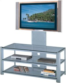 "3-tier TV Stand, Silver/clear Glass, 47.5""LX19.5""WX52""H"