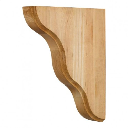 "1-3/4"" x 7-1/2"" x 9-1/2"" Smooth Contour Bar Bracket, Species: Rubberwood"