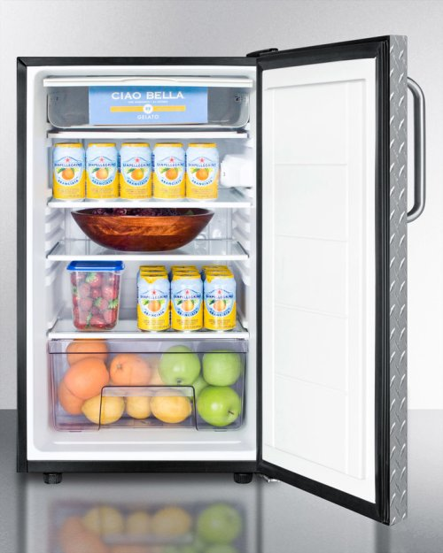 """Commercially Listed 20"""" Wide Built-in Refrigerator-freezer With A Lock, Diamond Plate Door, Towel Bar Handle and Black Cabinet"""